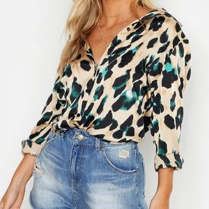 Petite Satin Leopard Print Shirt